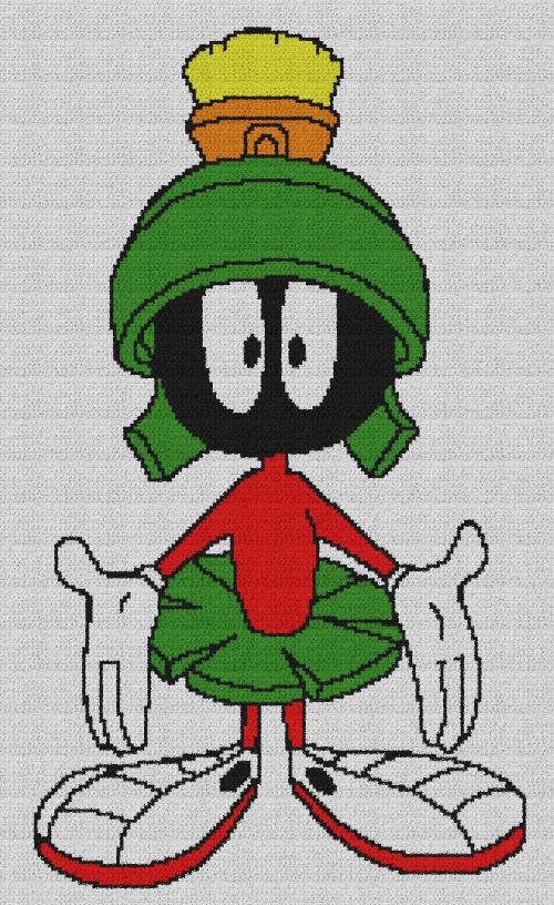 Marvin the Martian - Single Crochet Written Graphghan Pattern - 01 (153x256)