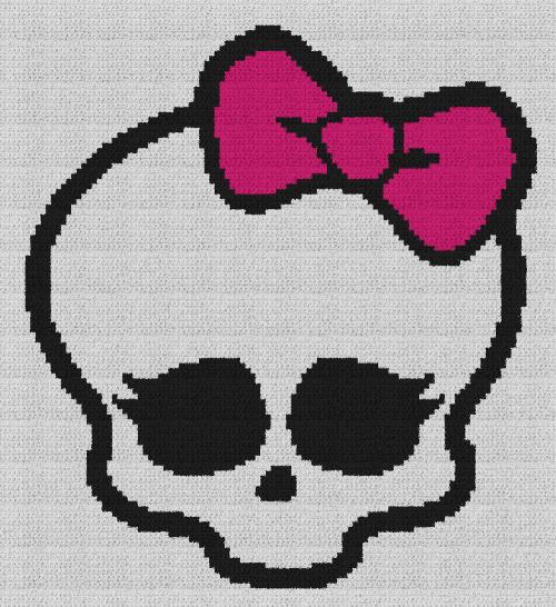 Skullette (Monster High) - Single Crochet Written Graphghan Pattern - 01 (110x120)