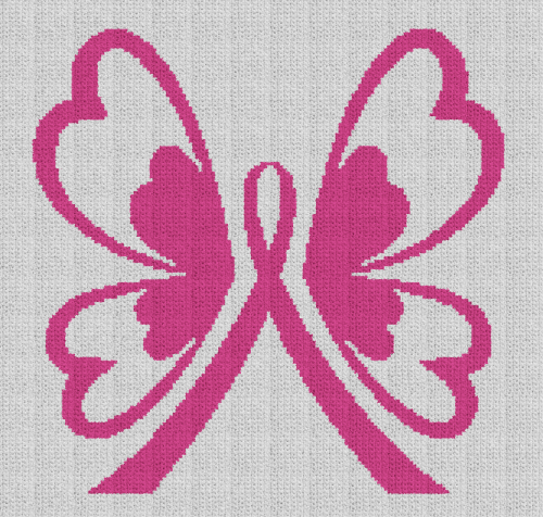 Breast Cancer Butterfly (Chart/Graph AND Row-by-Row Written Crochet Instructions) - 05