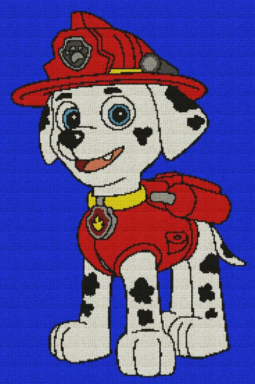 Marshall (Paw Patrol) - Single Crochet Written Graphghan Pattern - 01 (176x270)