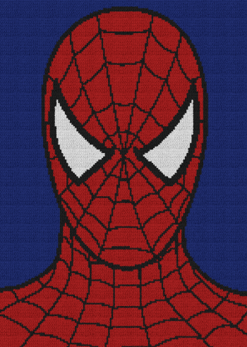 Spiderman - Single Crochet Written Graphghan Pattern - 08 (150x211)