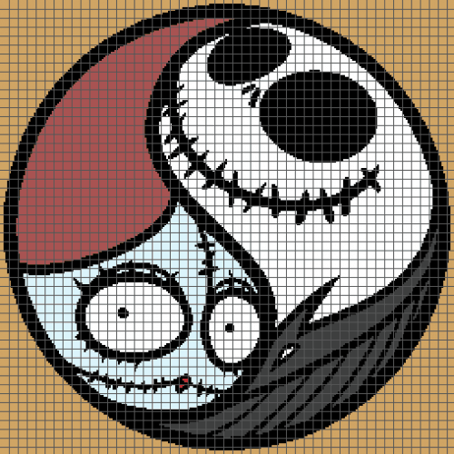 Jack & Sally Yin Yang - The Nightmare Before Christmas (Graph AND Row-by-Row Written Crochet Instructions) - 03