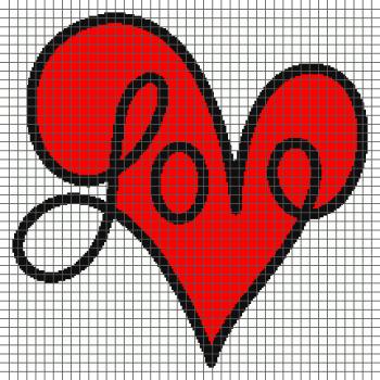 Love Script Heart - (Graph AND Row-by-Row Written Crochet Instructions) - 05