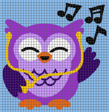 Owl Listening to Music - (Graph AND Row-by-Row Written Crochet Instructions) - 06