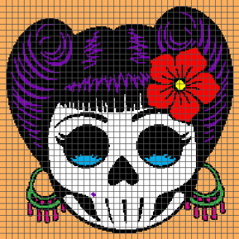 Rockabilly Day of the Dead Sugar Skull - (Graph AND Row-by-Row Written Crochet Instructions) - 05