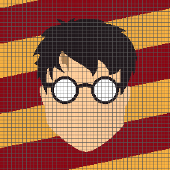 Harry Potter Minimalist Face - (Graph AND Row-by-Row Written Crochet Instructions) - 09