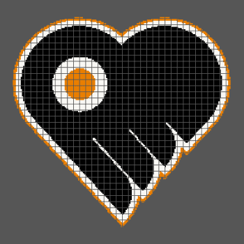 Philadelphia Flyers Heart/Love - (Graph AND Row-by-Row Written Crochet Instructions) - 07