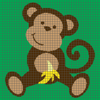 Cute Monkey With Banana - (Graph AND Row-by-Row Written Crochet Instructions) - 03