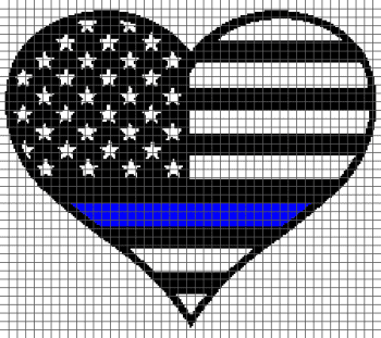 Thin Blue Line - Police Love - (Graph AND Row-by-Row Written Crochet Instructions) - 03