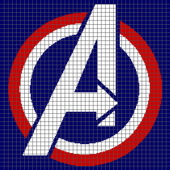 Avengers Logo - (Graph AND Row-by-Row Written Crochet Instructions) - 01