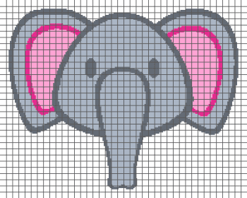 Simple Elephant Head - (Graph AND Row-by-Row Written Crochet Instructions) - 05