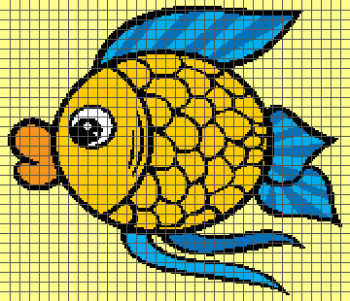 Colorful Cartoon Fish- (Graph AND Row-by-Row Written Crochet Instructions) - 03