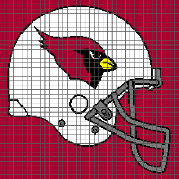 Arizona Cardinals Helmet - (Graph AND Row-by-Row Written Crochet Instructions) - 04