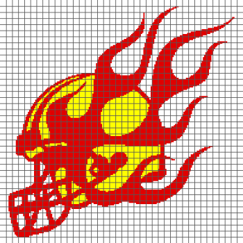 Flaming Football Helmet - (Graph AND Row-by-Row Written Crochet Instructions) - 10