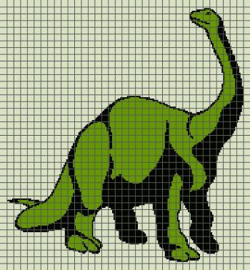 Dinosaur (Brontosaurus) - (Graph AND Row-by-Row Written Crochet Instructions) - 06