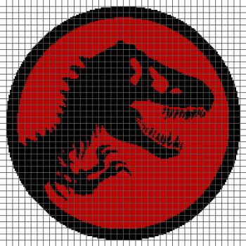 Jurassic Park Dinosaur Skeleton - (Graph AND Row-by-Row Written Crochet Instructions) - 01