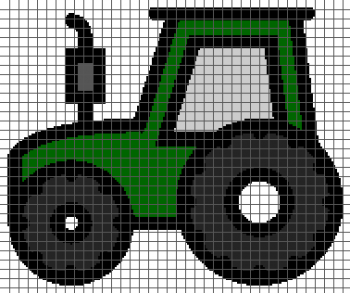 Farm Tractor - (Graph AND Row-by-Row Written Single Crochet Instructions) - 04