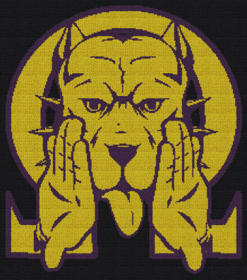 Omega Psi Phi - Que Dog - SC (Single Crochet) Written Graphghan Pattern - 04 (219x247)