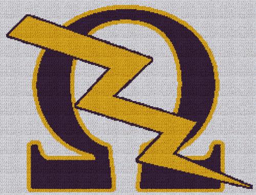 Omega Psi Phi - Lightning Bolt - SC (Single Crochet) Written Graphghan Pattern - 06 (250x191)