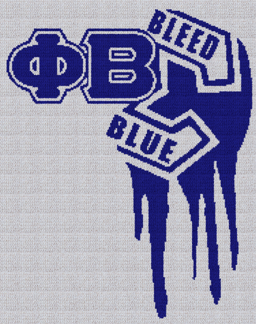 Phi Beta Sigma (Bleed Blue) - SC (Single Crochet) Written Graphghan Pattern - 03 (190x240)