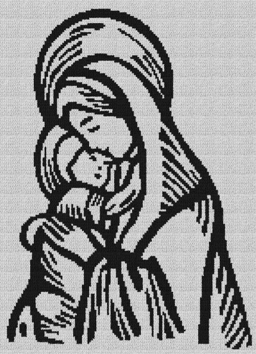 Virgin Mary Written SC Graphghan Pattern