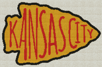 Kansas City Chiefs Arrowhead - Single Crochet Written Graphghan Pattern - 07 (226x150)
