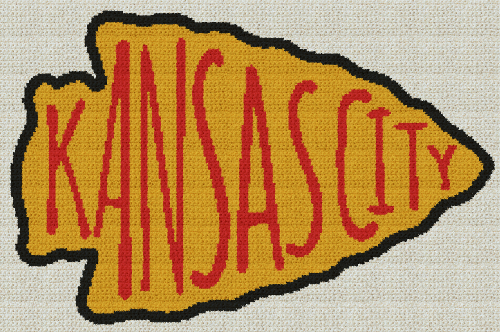 Kansas City Chiefs Arrowhead - Single Crochet Written Graphghan Pattern - 07 (226x150)