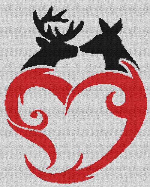 Buck & Doe Love - Single Crochet Written Graphghan Pattern - 11
