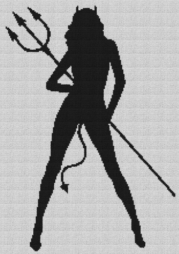 Sexy She-Devil - Single Crochet Written Graphghan Pattern - 01 (157x222)