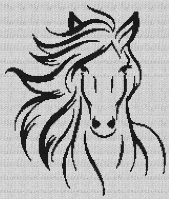 Mare with Flowing Mane - Single Crochet Written Graphghan Pattern - 06