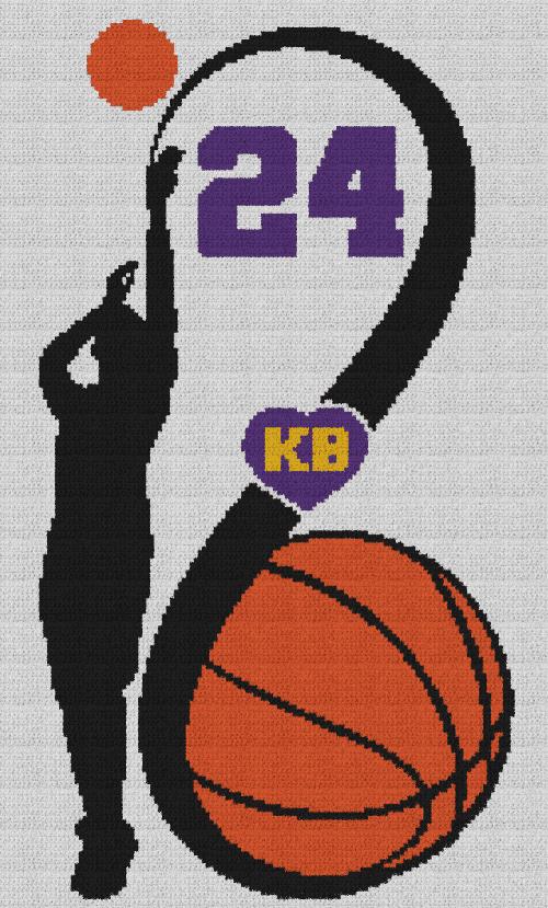 Kobe Bryant KB 24 - C2C Written Graphghan Pattern - 04 (140x232)