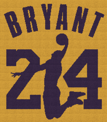 Kobe Bryant 24 - C2C Written Graphghan Pattern - 05 (220x250)