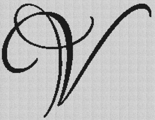 Script Letter V - Single Crochet Written Graphghan Pattern - 01 (210x163)