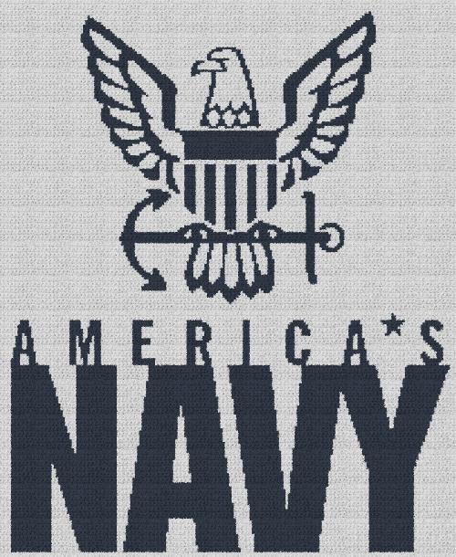 America's Navy - Single Crochet Written Graphghan Pattern - 06 (205x250)