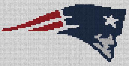New England Patriots Pillow - Single Crochet Written Graphghan Pattern - 01 (87x45)