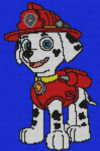 Marshall - Paw Patrol - Single Crochet Written Graphghan Pattern - 02 (100x150)
