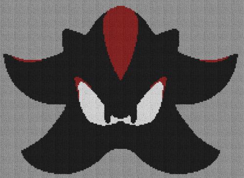 Shadow the Hedgehog - Single Crochet Written Graphghan Pattern - 03 (205x150)