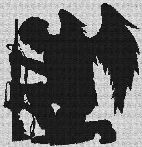 Kneeling Soldier with Angel Wings - Single Crochet Written Graphghan Pattern - 07 (217x224)