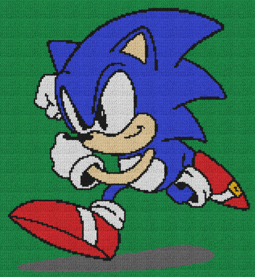 Sonic the Hedgehog - Single Crochet Written Graphghan Pattern - 03 (160x174)