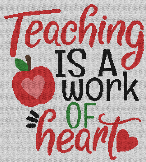 Teaching Is A Work Of Heart - Single Crochet Written Graphghan Pattern - 05 (180x199)