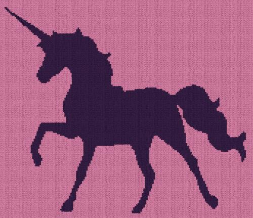 Unicorn Silhouette - Single Crochet Written Graphghan Pattern - 01