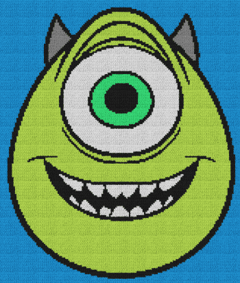 Mike (Monsters, Inc.) - Single Crochet Written Graphghan Pattern - 03 (160x189)