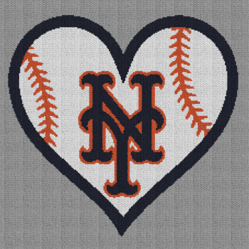 New York Mets Baseball Heart - Single Crochet Written Graphghan Pattern - 01 (220x220)