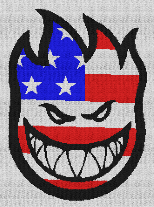 Spitfire American Flag - Single Crochet Written Graphghan Pattern - 01 (169x230)