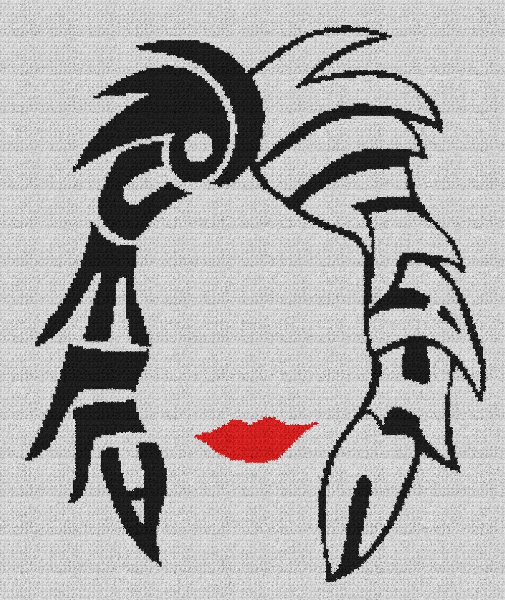 Cruela, Villain (101 Dalmatians) - Single Crochet Written Graphghan Pattern - 04 (192x230)