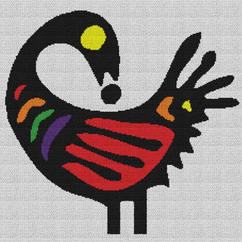 Sankofa Bird - Single Crochet Written Graphghan Pattern - 04 (230x230)