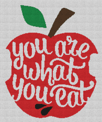 You Are What You Eat Apple - Single Crochet Written Graphghan Pattern - 01 (187x224)