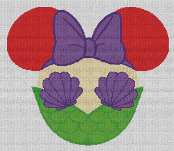 Minnie Mouse as Ariel (The Little Mermaid) - Single Crochet Written Graphghan Pattern - 09 (238x205)