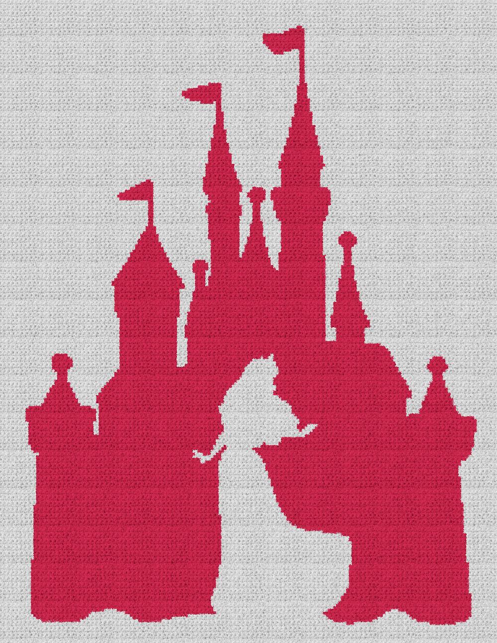 Sleeping Beauty/Aurora / Disney Castle - Single Crochet Written Graphghan Pattern - 06 (183x240)
