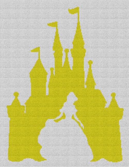 Belle / Disney Castle - Single Crochet Written Graphghan Pattern - 10 (183x240)